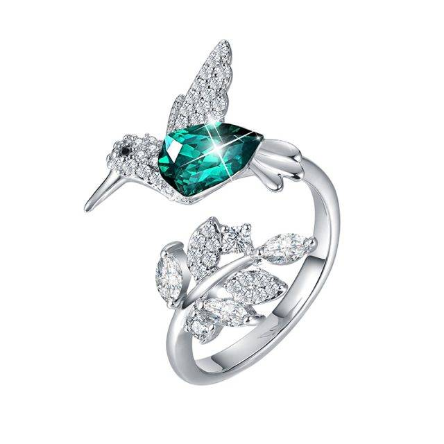 Women's Embellished with Crystals Bird Silver Ring