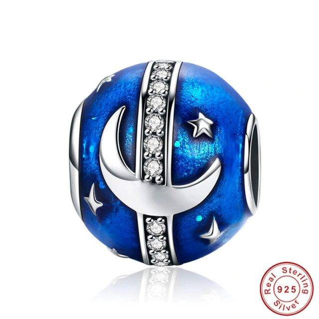 925 Sterling Silver / Blue Cubic Zirconia Charms for Pandora Bracelet
