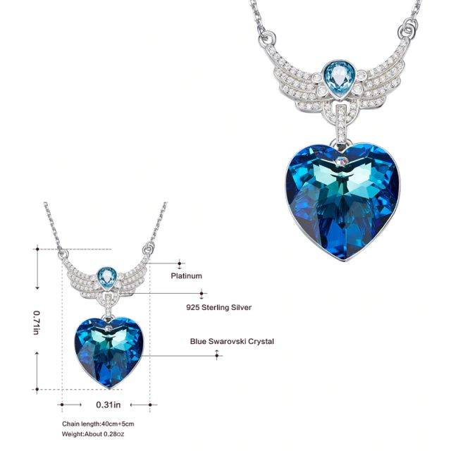 Women's Blue Crystals Heart Shaped Silver Pendant Necklace