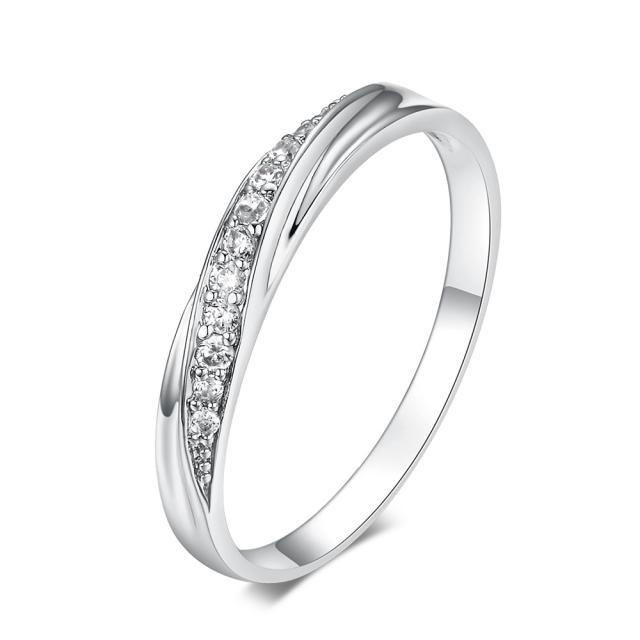 Simple Design Cubic Zirconia Ring for Women