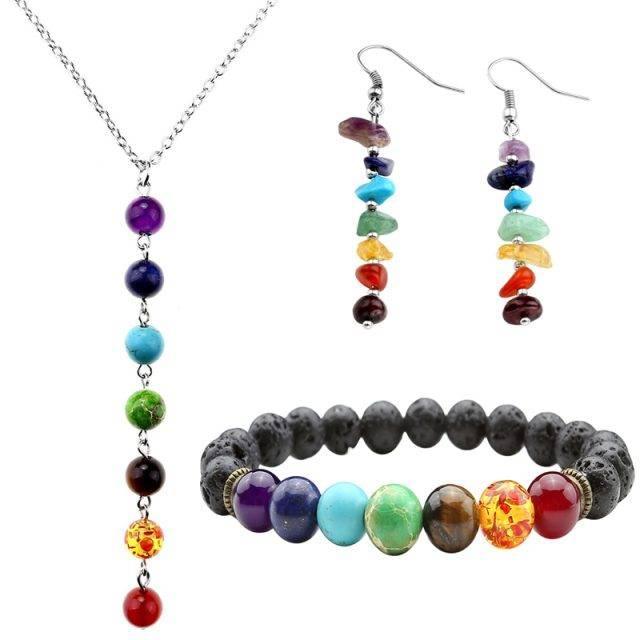 7 Chakra Bracelet, Necklace and Earrings Set
