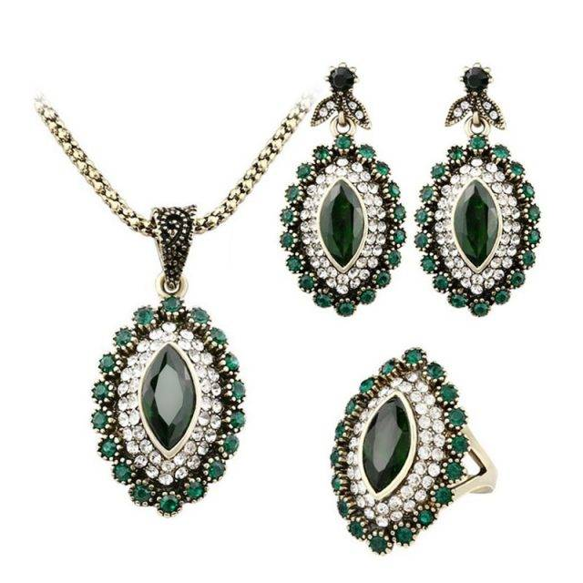 Women's Deep Forest Necklace, Earrings and Ring Set