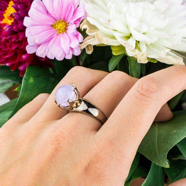 Women's Zirconia Ring and Earrings Set with Rose Stone
