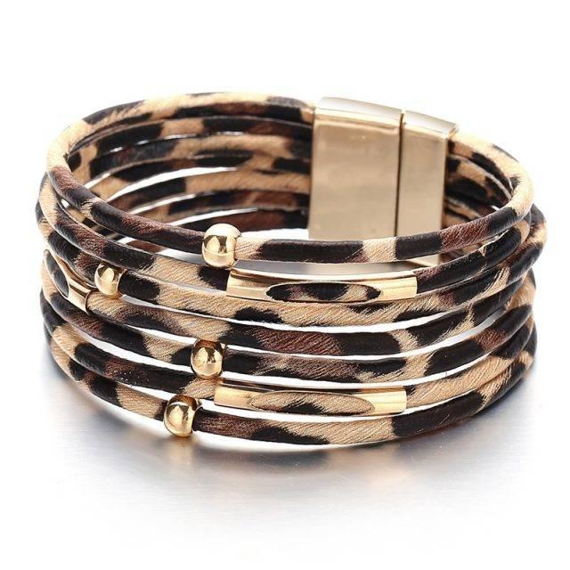 Women's Gold Leather Bracelet