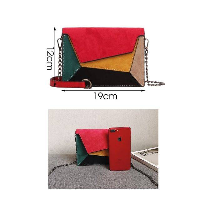 Women's Colorful Patchwork Leather Messenger Bag
