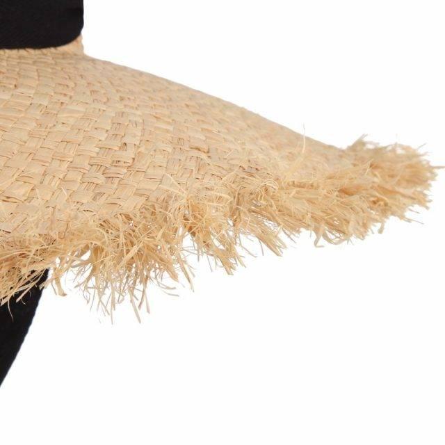 Women's Sun Straw Hat With Black Ribbon