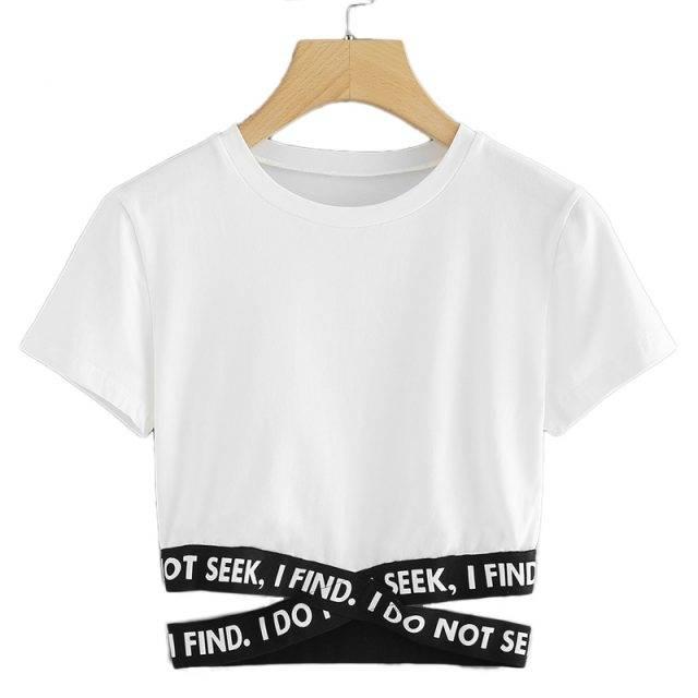 Women's Street Styled T-Shirt with Criss Cross Waist
