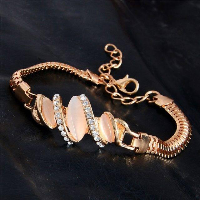 Women's Gold / Silver Color Cat's Eye Stone Bracelet