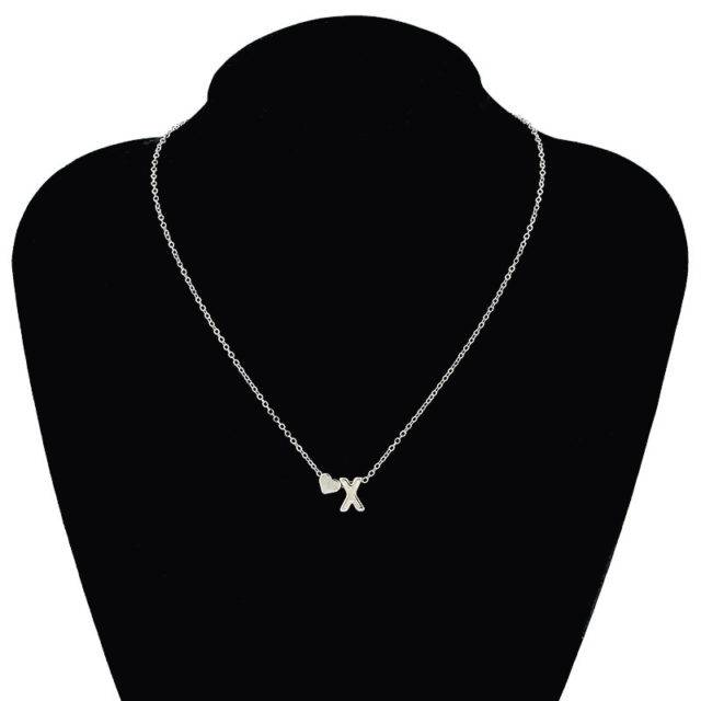 Women's Heart and Letter Shaped Pendant Necklace