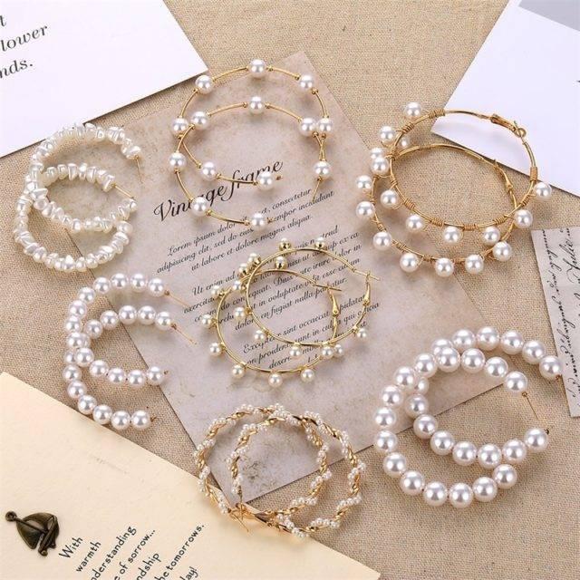 Geometric Simulated Pearl Earrings for Women