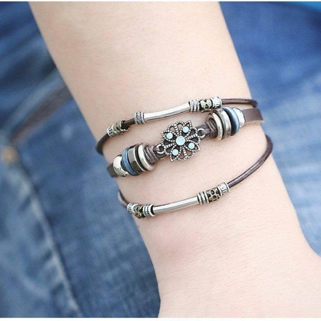 Women's Boho Leather Wrap Bracelet with Multiple Layers