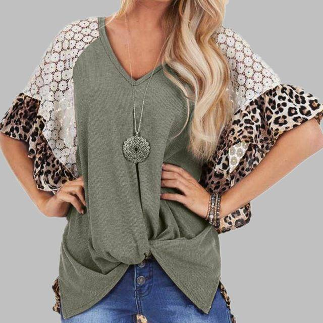 Woman T-Shirt V-Neck Loose Tops