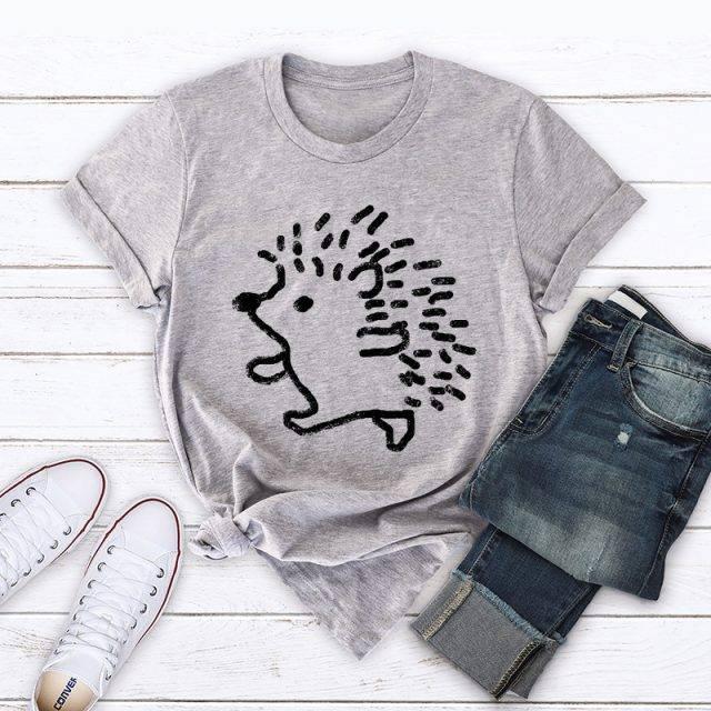 100%  Cotton Women Cute Hedgehog Printed T-Shirt