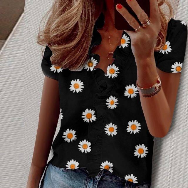 Women Ruffle V-Neck Blouse Elegant Lady Shirts Short Sleeve Sleeveless Long Sleeve