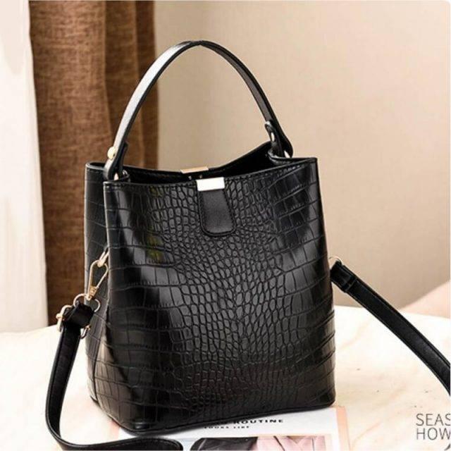 Women's Compact Alligator Skin Style Bucket Bag