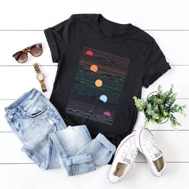 Abstract Print Women T-Shirt Short Sleeve Ladies Tops Tees
