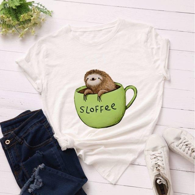 Cute Sloth Women T-Shirt 100% Cotton