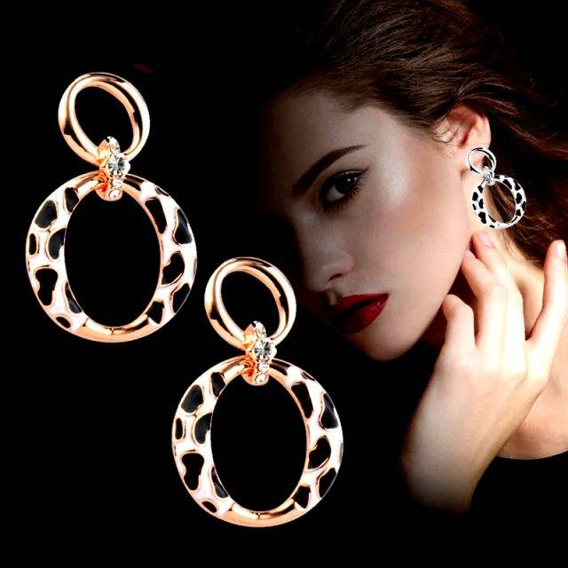 Trendy Leopard Women Earrings Rose Gold White Gold  Plated 925 Silver Stud Round Earrings