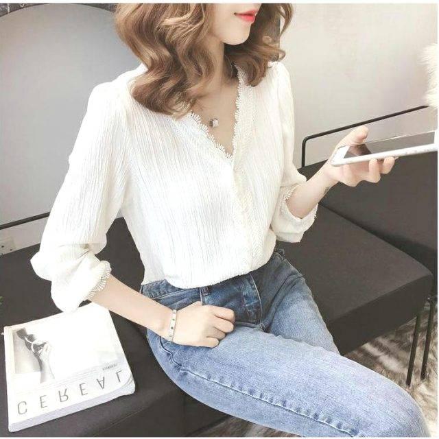 Women Blouse White Lace Chiffon Shirt