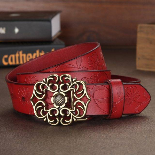Women 100% Genuine Leather Belt Women Jeans Luxury Vintage Belts