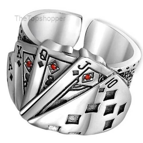 925 Sterling Silver Cute Poker Resizable Opening Rings For Women