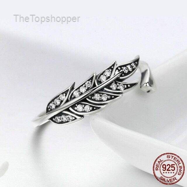 925 Sterling Silver Cubic Zircon Vintage Style Leaves Adjustable Rings for Women