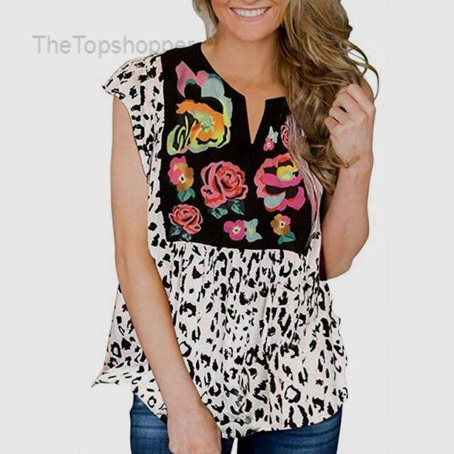 V-Neck Leopard Short Sleeves T-Shirt For Women Flowers and Leopard Patchwork Top Tee