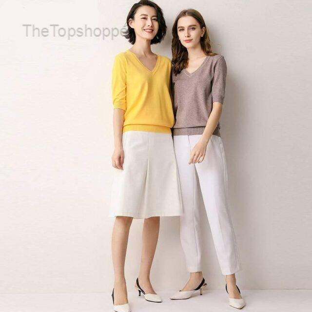 Women Multi Colors Knitted Blouse Ladies V-neck Blouses Knitted Women Tops